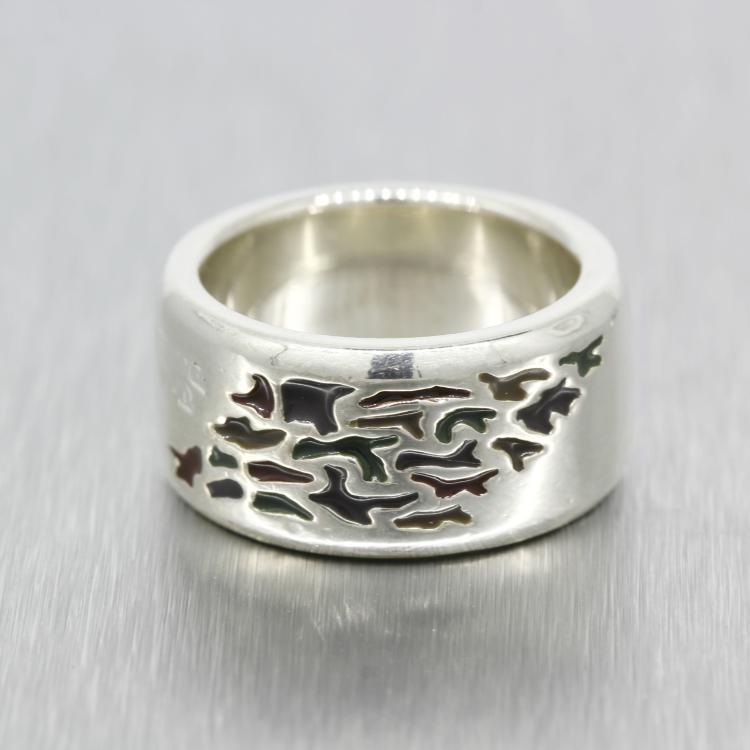 Vintage Estate 925 High Polished Men's Enamel Silver Ring Band - Size 7.75