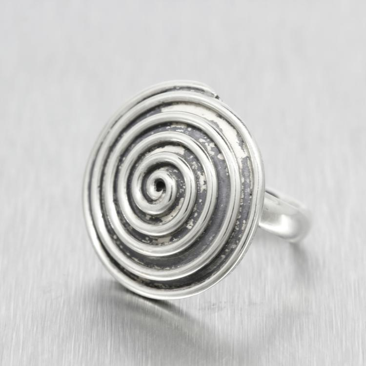 Vintage Classic Estate 925 Silver Ladies Swirl Disc Ring - Size 6.5