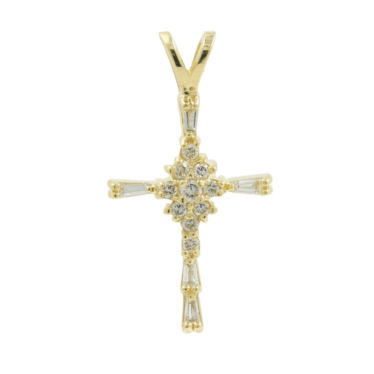 Vintage Classic Estate Ladies 14K Yellow Gold Diamond Cross Pendant - 0.27CTW