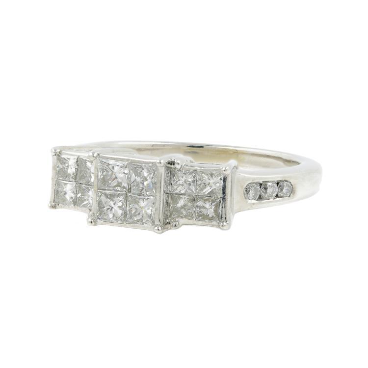 Estate Ladies 14K White Gold Princess Cut Diamond Engagement Ring - 0.85CTW