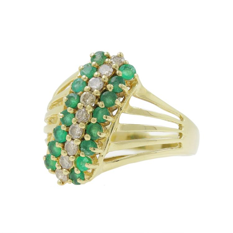 Vintage Estate 14K Yellow Gold Green Emerald Diamond Cocktail Ring - 1.07CTW