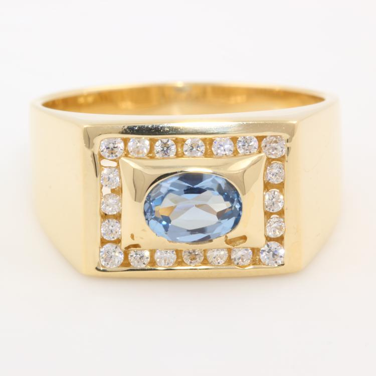 Stunning Classic Estate Men's 14K Yellow Gold Aqua Gem Zircon Ring Band