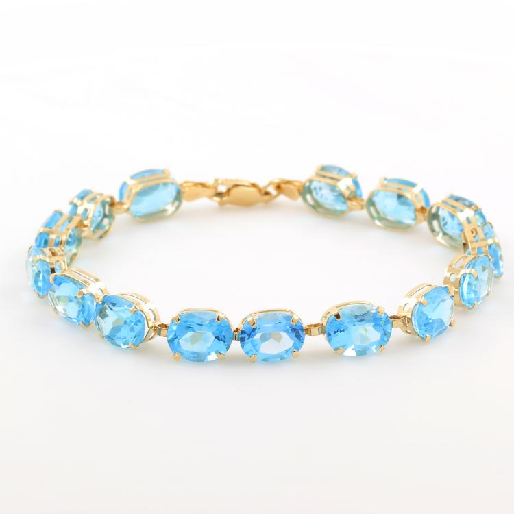 Classic Estate Ladies 10K Yellow Gold Blue Oval Cut Gemstone Bracelet - 7 Inch