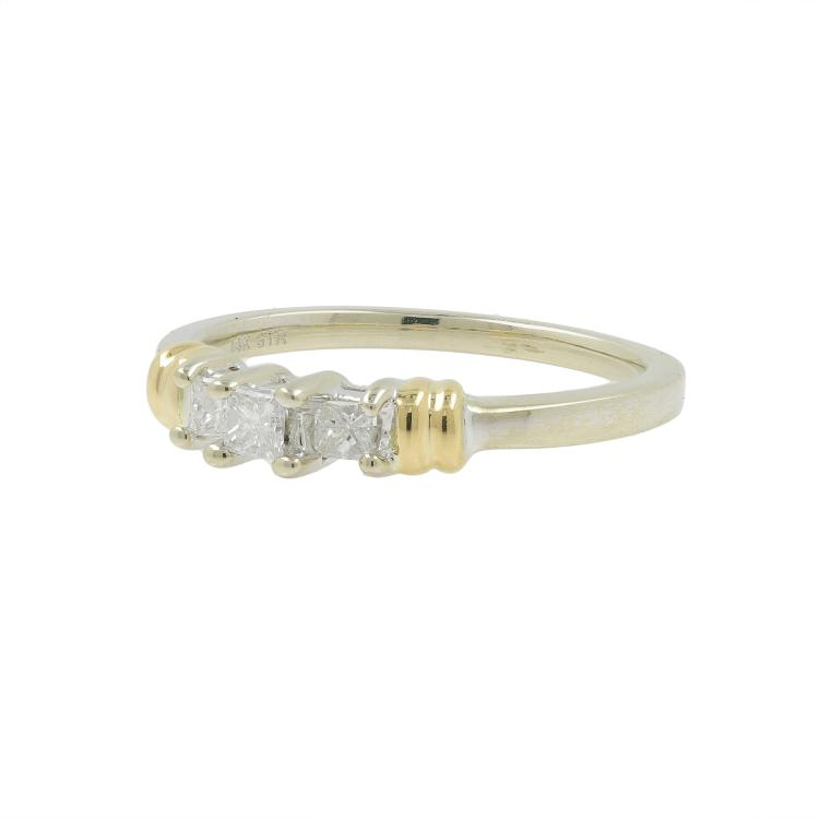 Vintage Estate Ladies 14K White and Yellow Gold Diamond Engagement Ring 0.32CTW