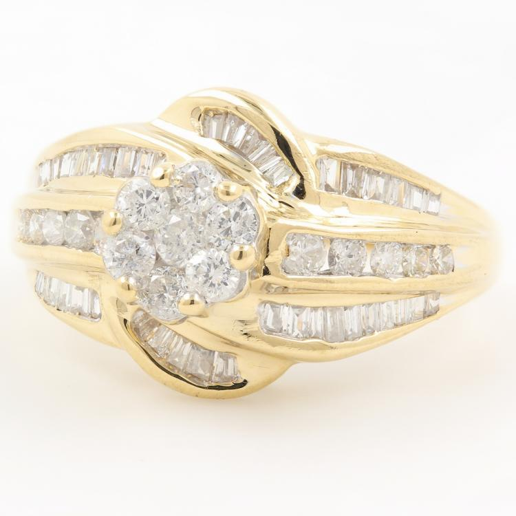 Charming Vintage 14K Yellow Gold Ladies Diamond Bypass Rosita Ring - 1.30CTW