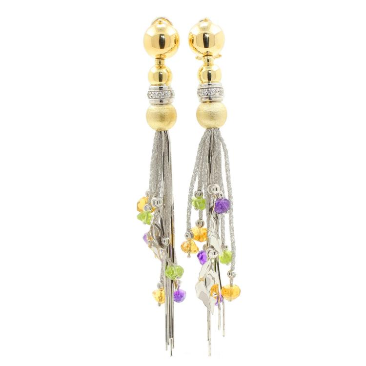 Vintage Classic Estate 18K White Yellow Gold Dangle Gemstone Omega Back Earrings