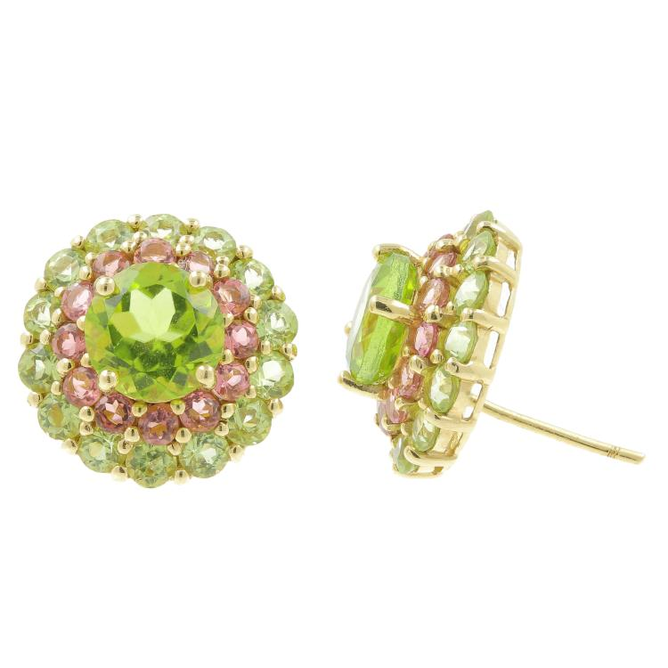 Vintage Estate 14K Yellow Gold Green Peridot Rose Quartz Stud Push Back Earrings