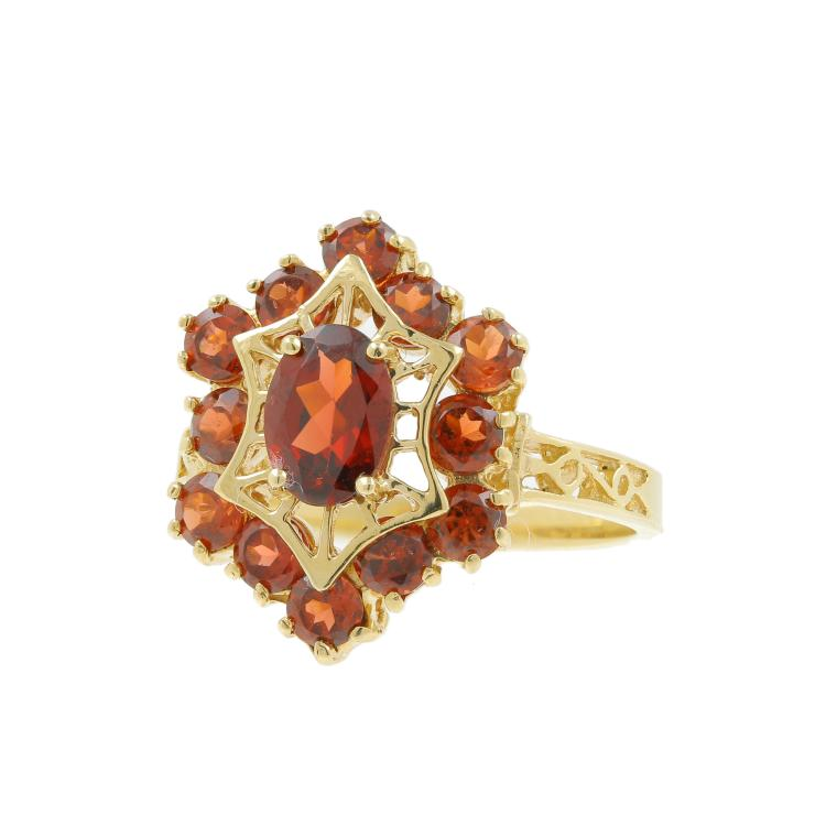 Vintage Estate 10K Yellow Gold Garnet Filigree Cocktail Right Hand Ring