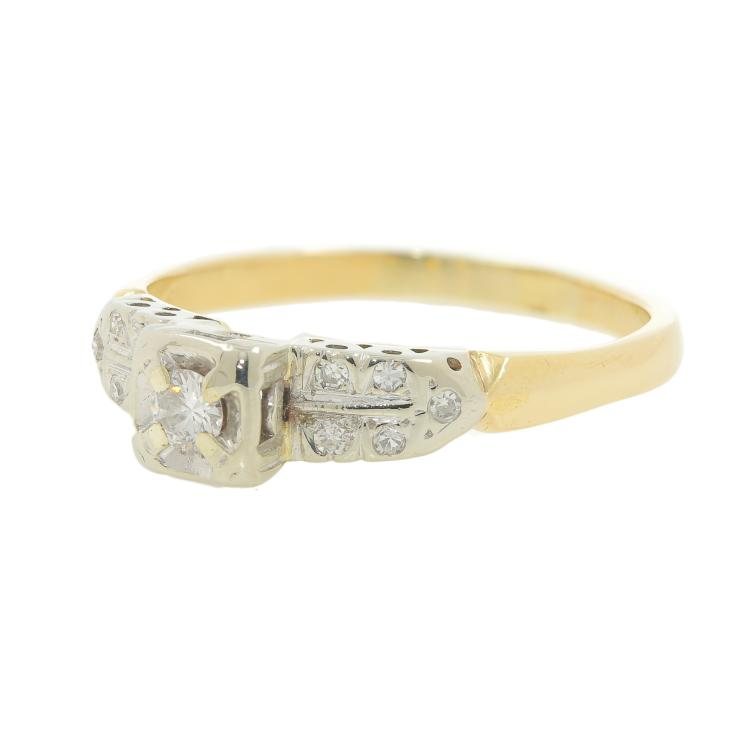 Vintage Estate 14K Yellow Gold Two Tone Diamond Ladies Engagement Ring - 0.20CTW