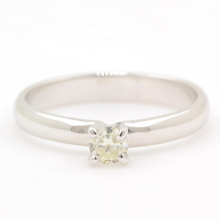 Classic 14K White Gold Cut Solitaire Diamond Ladies Engagement Ring - 0.20CTW