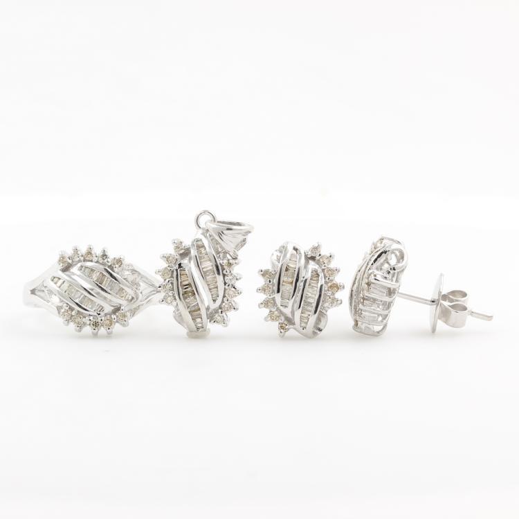 Classic Estate 14K White Gold Diamond Ladies Ring Pendant Earrings Set - 1.25CTW