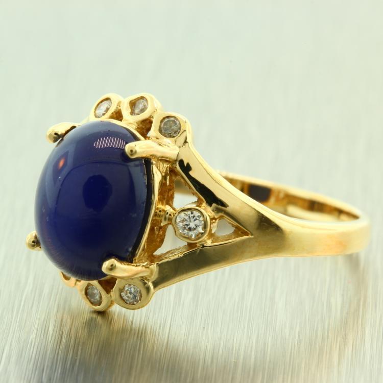 Estate Ladies 14K Yellow Gold Blue Linde Star Sapphire Zirconia Cocktail Ring