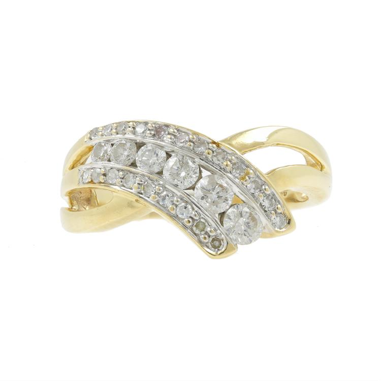 Vintage Classic Estate Ladies 14K Yellow Gold Diamond Bypass Ring - 0.75CTW