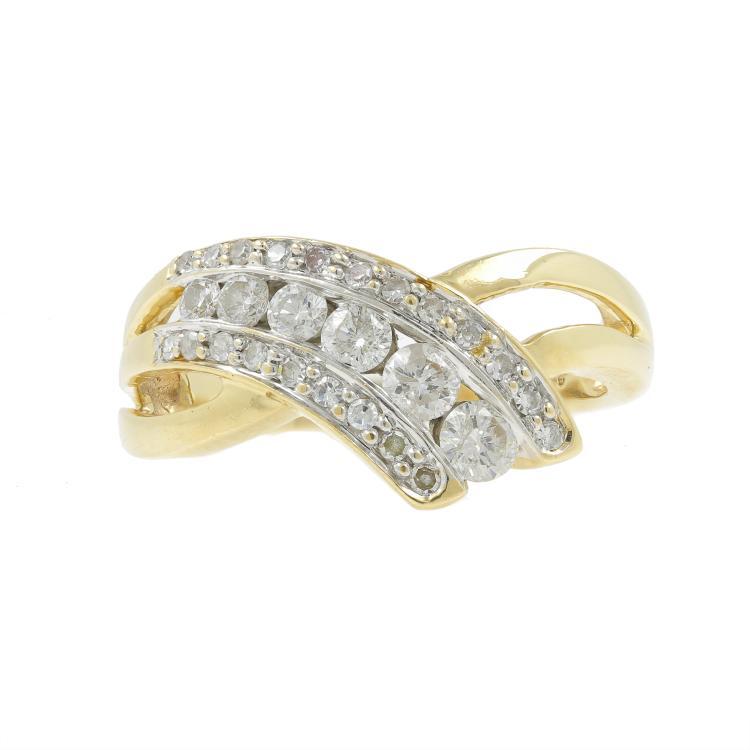 Vintage Classic Estate Ladies 14K Yellow Gold Diamond Bypass Ring - 0.75CTW