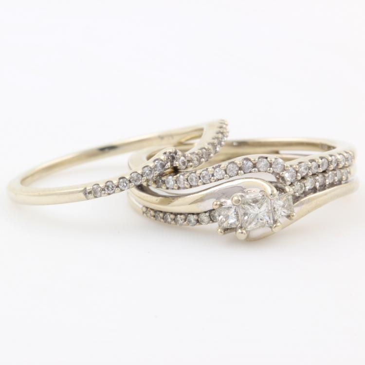 Classic Vintage Estate 10K White Gold Diamond Ladies Wedding Ring Duo Set