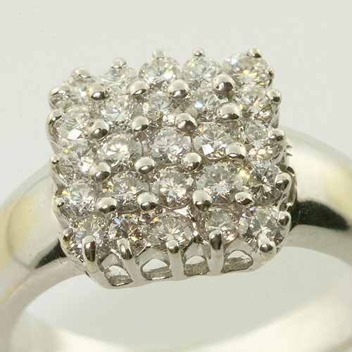 Beautiful Vintage Estate 18K White Gold Sparkling Diamond Cocktail Ring