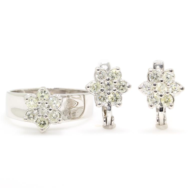 Vintage Estate Ladies 14K White Gold Diamond Rosita Cluster Ring Earrings 2PC Jewelry Set