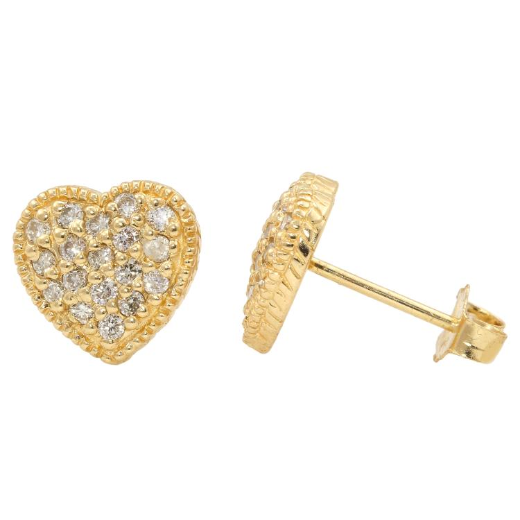 Charming Modern 14K Yellow Gold Diamond Heart-Shaped Stud Earrings - 0.35CTW