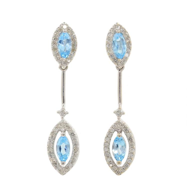 NEW Modern Ladies 10K White Gold Blue Topaz Diamond Drop Earrings - 2.00CTW