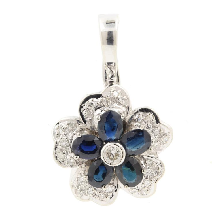 Stylish Modern 14K White Gold Fancy Diamond London Blue Topaz Ladies Pendant