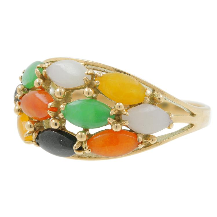 Vintage Estate 14K Yellow Gold Fancy Multi Color Jade Onyx Ladies Cocktail Ring