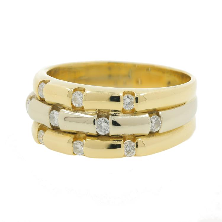 Unique Vintage Estate 14K Yellow White Gold Diamond Bamboo Ring Band - 0.30CTW