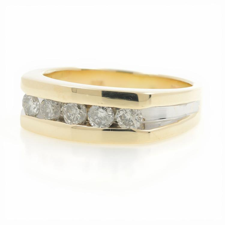 Clfssic Estate 10K Yellow & White Gold Diamond Men's Ring Band - 0.50CTW