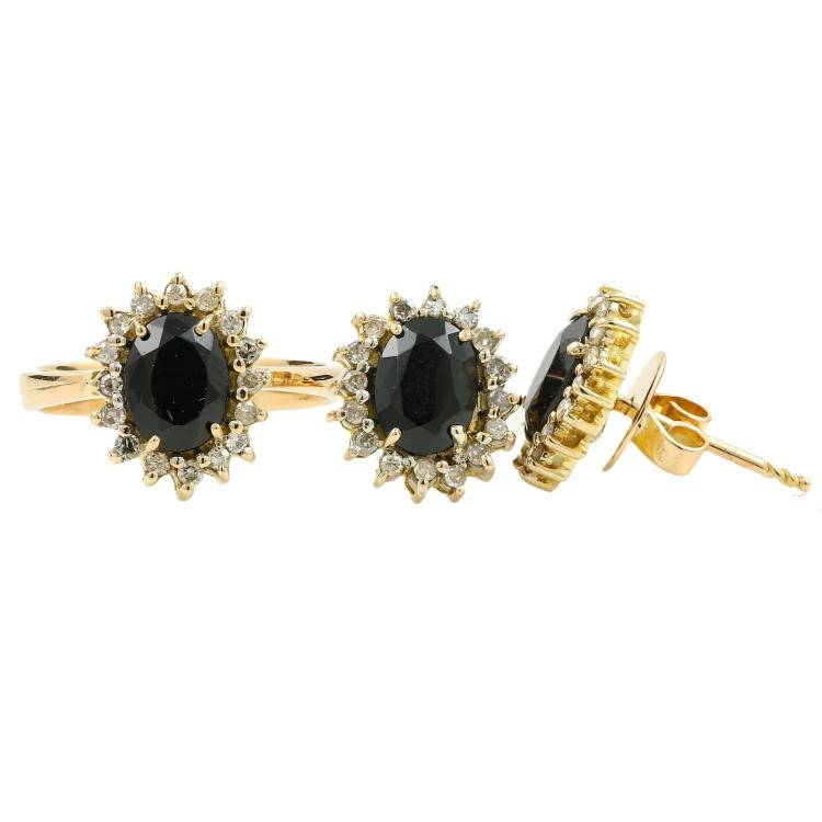 Vintage Estate Ladies 14K Yellow Gold Diamond Onyx 3.05CTW Two Piece Jewelry Set