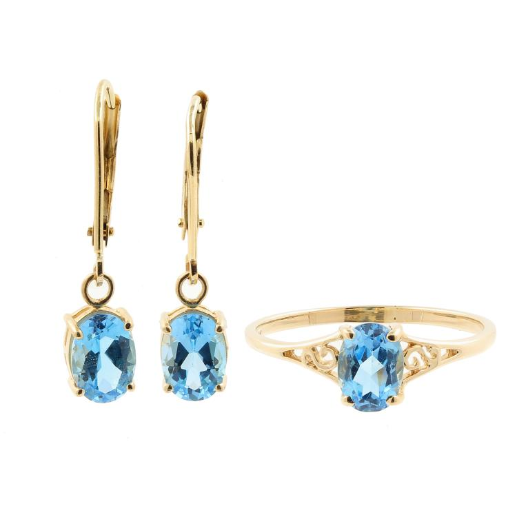 Classic Ladies 14K Yellow Gold Blue Oval Cut Topaz Two Piece Ring Earrings Set