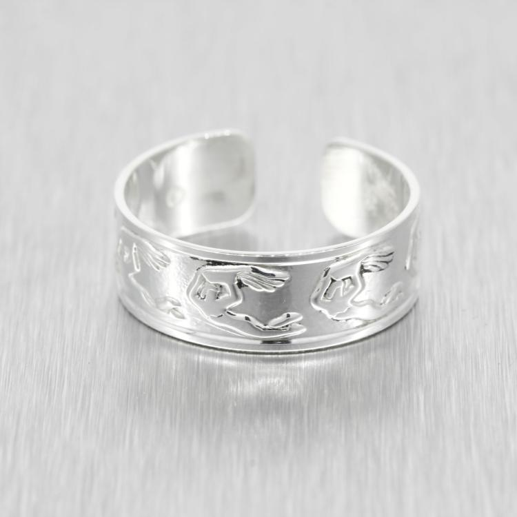 Vintage Estate 925 Silver Beautiful High Polished Detail Open Cuff Band Ring