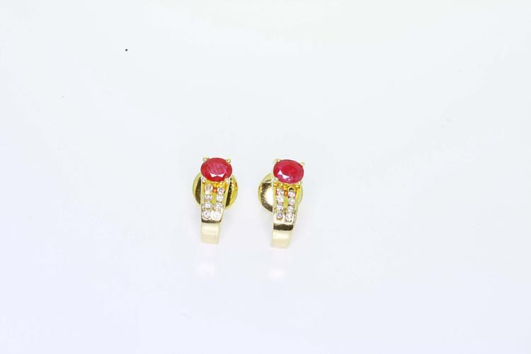 Estate Ladies 14K Yellow Gold Charming Diamond & Ruby J Hoop Stud Earrings