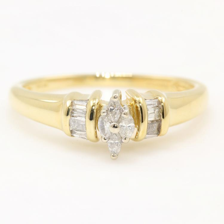 Modern 14K Yellow Gold Marquise Cut Stunning Diamond Engagement Ring