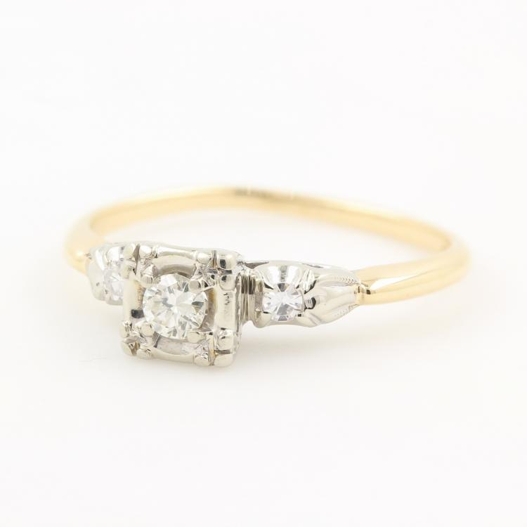 Vintage Estate Miracle 14K Two Tone Gold Diamond Engagement Ring - 0.15CTW
