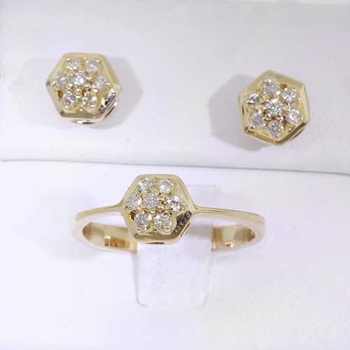 Beautiful Classic 14K Diamond Ladies Two Piece Ring Earrings Jewelry Set - NEW