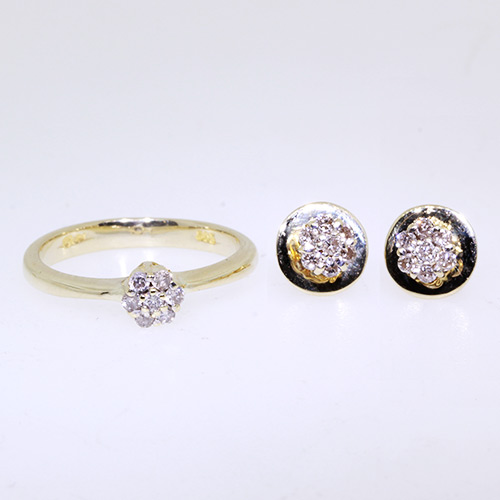 Splendid Yellow Gold 14K Diamond 2 Piece Ring Earring Ladies Set