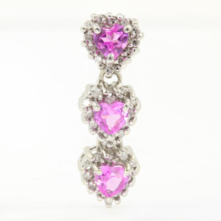 Vintage Estate Ladies 14K White Gold Stunning Diamond and Pink Topaz Pendant