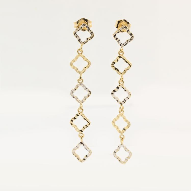 Beautiful Modern Ladies 14K Two Tone Gold Cut Out Stylish Dangle Earrings - 50mm