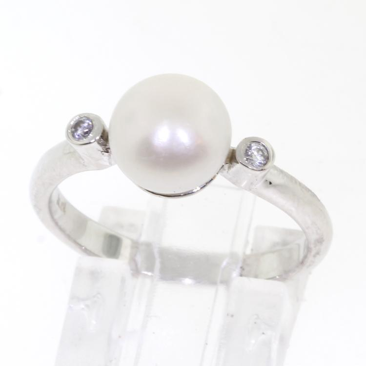 Classic Vintage 14k White Gold Elegant Diamond Freshwater Pearl Ladies Ring