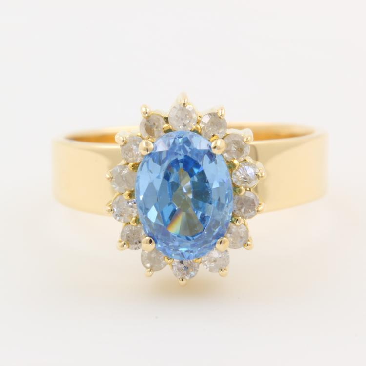 Ladies 14k Yellow Gold Charming Diamond Blue Zirconia Halo Cocktail Ring - NEW