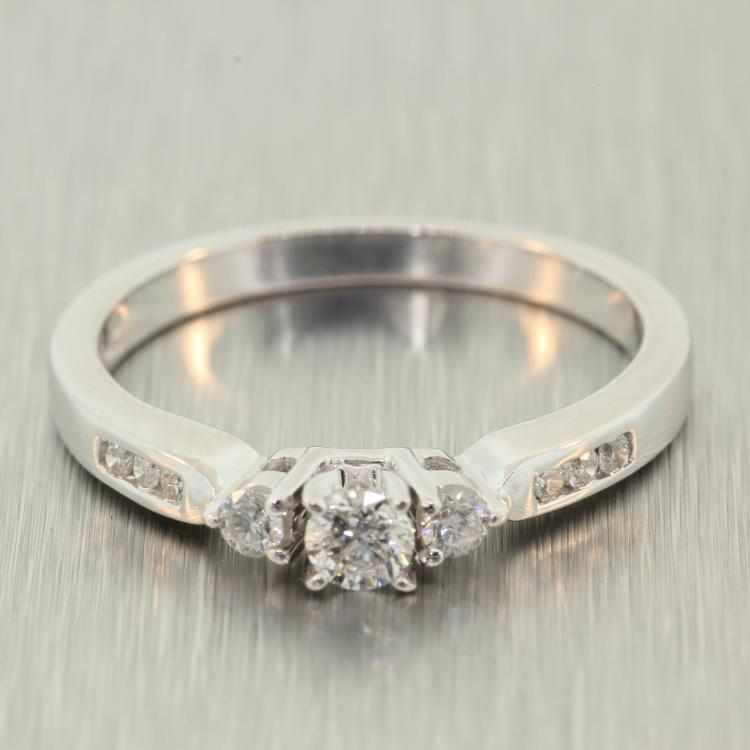 Modern 14K White Gold Three Stone Side Accent Diamond Ladies Engagement Ring