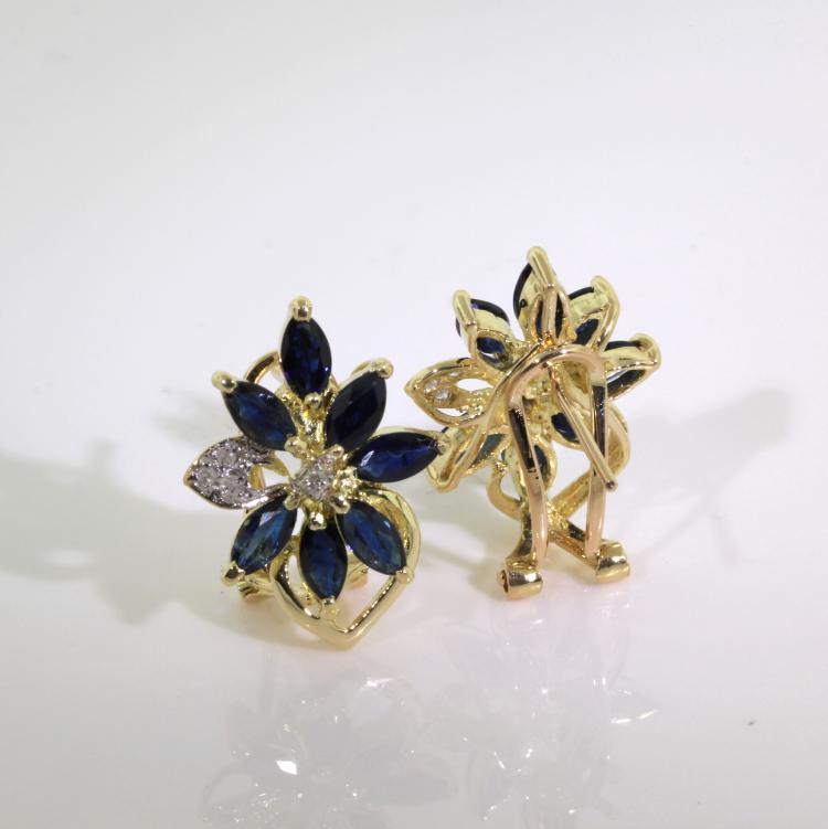 Vintage Estate Ladies 14K Yellow Gold Diamond Spinel Floral Latch Back Earrings