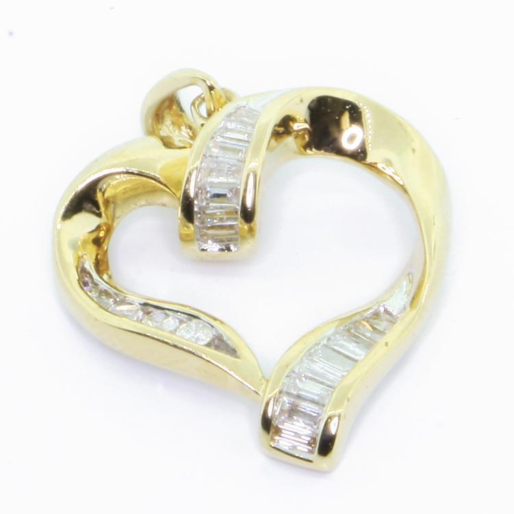 Vintage Estate 14k Yellow Gold Classic Elegant Diamond Heart Drop Ladies Pendant