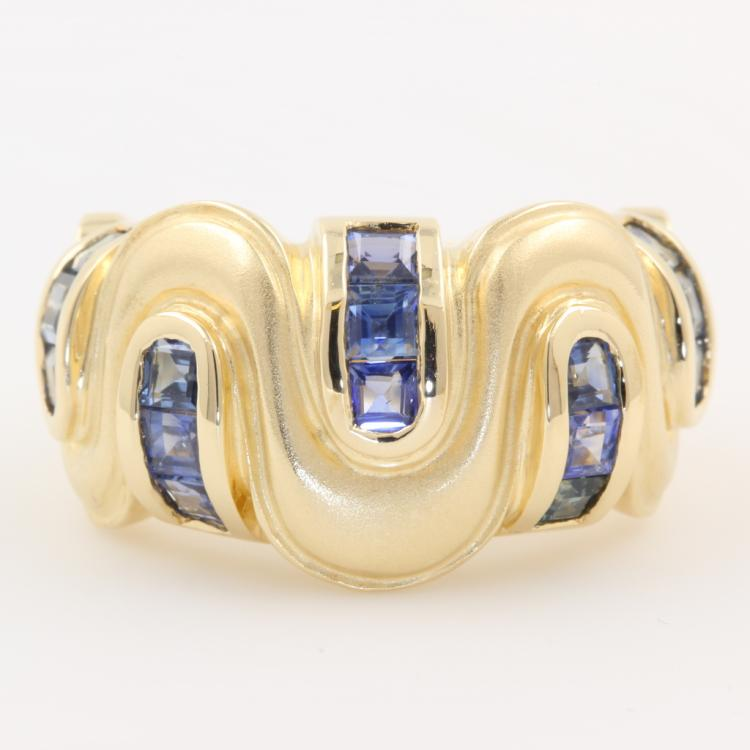 Unique Modern Ladies 14K Yellow Gold Blue Sapphire Cocktail Band Ring