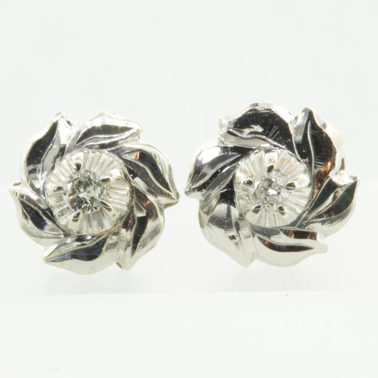 Classic Estate Ladies 14k White Gold Elegant Floral Diamond Stud Earrings