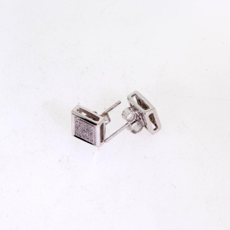 Vintage Estate 10K White Gold Natural Diamond Illusion Set Stud Earrings - 0.33CTW