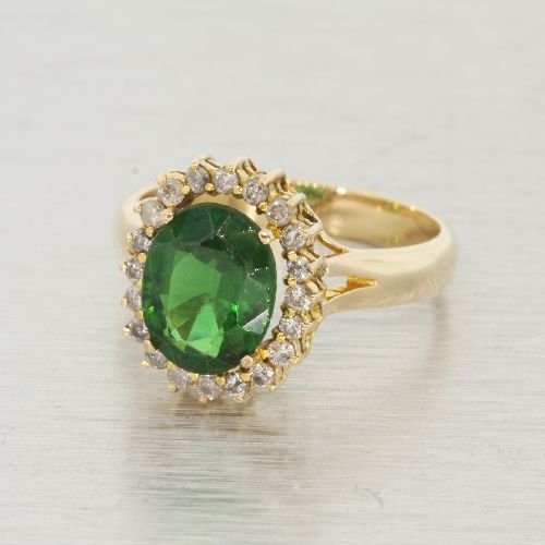 Classic Estate Ladies 14K Yellow Gold Diamond Green Zirconia Halo Cocktail Ring