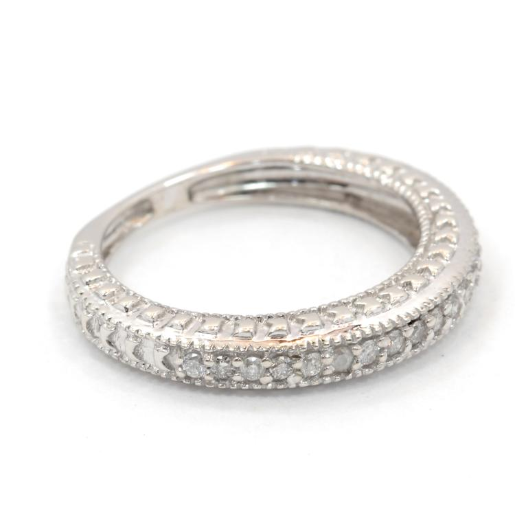 Vintage Classic Estate Ladies 10K White Gold Diamond Ring Band - 0.35CTW