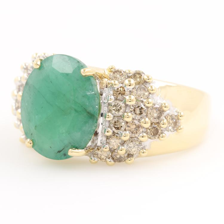 Vintage Estate Ladies 14K Yellow Gold Diamond Emerald Cocktail Ring - 3.85CTW