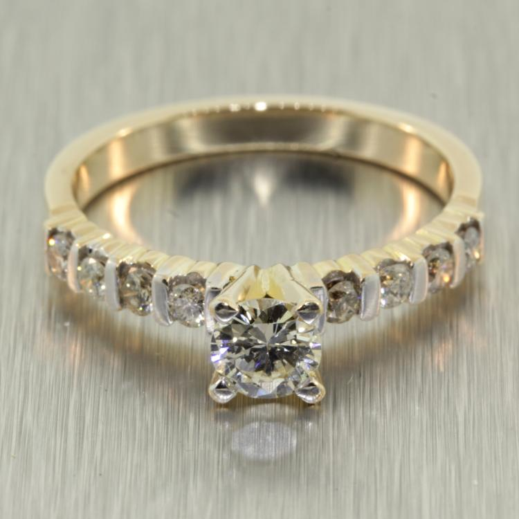 Sparkling Ladies 14K Yellow Gold Solitaire Diamond - 0.75CTW - Engagement Ring