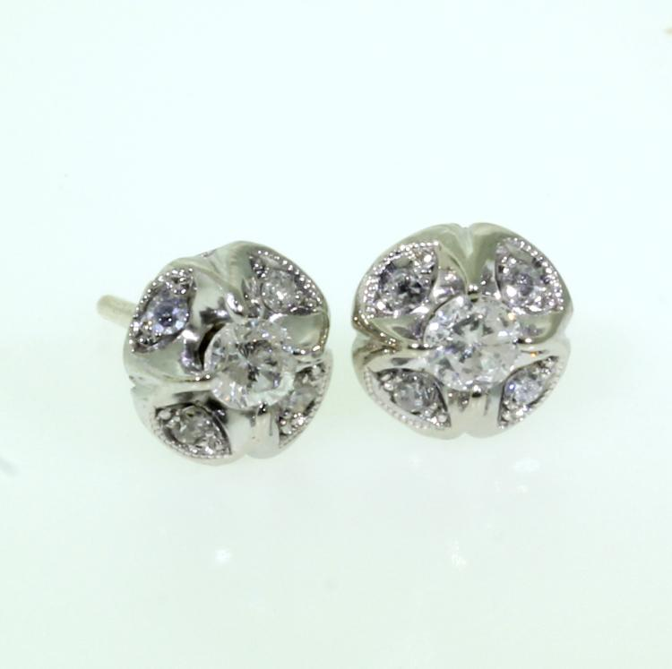 Classic Ladies Estate 10k White Gold Elegant Diamond - 0.65CTW - Stud Earrings